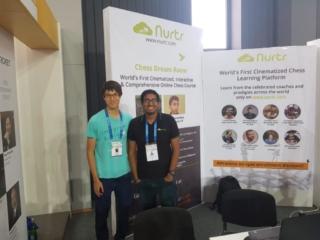 GM Priyadharshan with his friend GM Ray Robson in Batumi Olympiad 2018