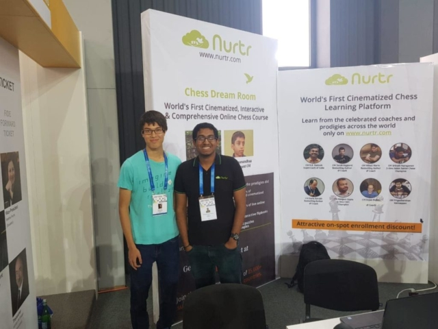 GM Priyadharshan with his friend GM Ray Robson in Batumi Olympiad 2018