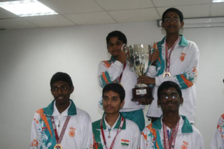 2008 Indian team winning the gold medal in World Sub-Junior Chess Olympiad.