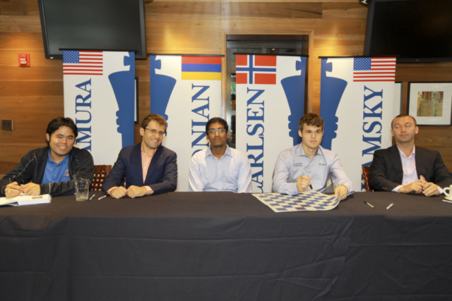 Priyadharshan with Nakamura, Aronian, Carlsen and Kamsky in St.Louis