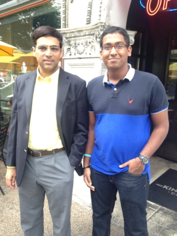 GM Priyadharshan with GM Anand outside the St.Louis Chess Club