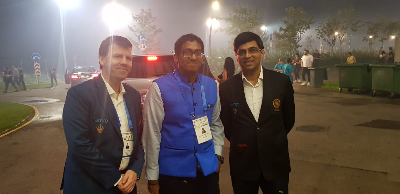 GM Priyadharshan in Batumi Olympiad 2018 with GM Anand and GM Aagaard